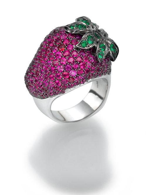 Ring  LP1338 Strawberry , Rubies and Tsavorite