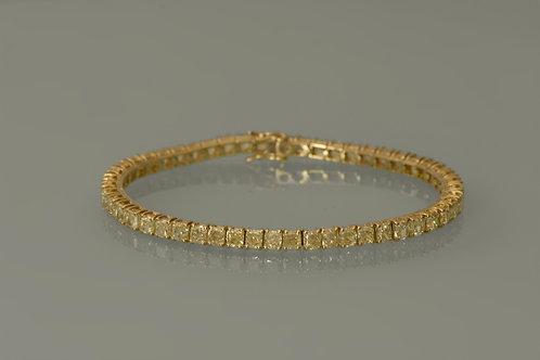 18K gold Tennis Bracelet 2507 Natural Yellow Cushion Diamonds