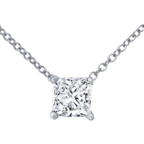 Diamond Solitaire Pendant , diamond solitaire necklace. Princess cut pendant