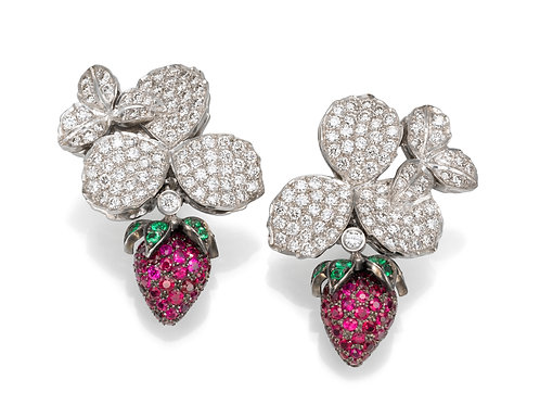 Earrings LP 2317 strawberry of Diamonds and Ruby