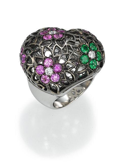 Ring LP 1703 Intima ,  Diamonds, pink Sapphire and Tsavorite
