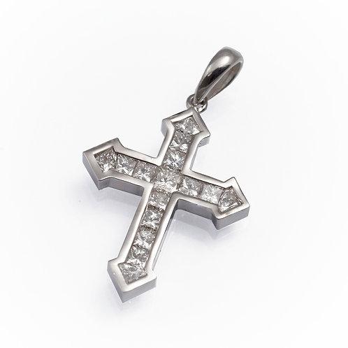 diamond cross prndant, diamond cross necklace, Princess cut diamonds cross pendant