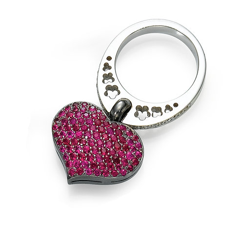 18K gold Ring LP 1775 Swinging Hearts,  Diamonds and Rubies