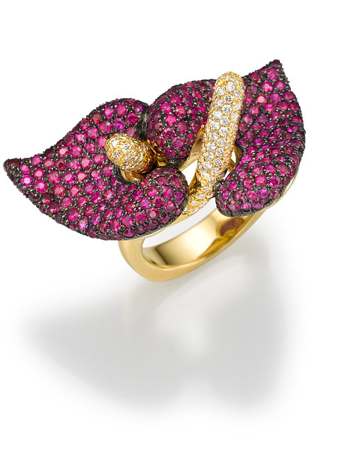 Ring  LP1464 Bouquet of Diamonds and Ruby
