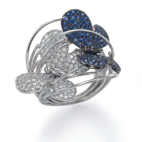 Ring  LP1468 Papillon ,  Diamonds and Sapphire
