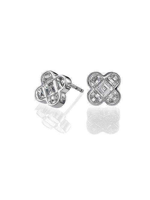 diamonds earrings, studs earrings, Half moon diamonds earrings.