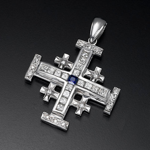 diamond cross prndan ,Jerusalem cross pendant, diamond cross necklace, Princess cut diamonds cross pendant