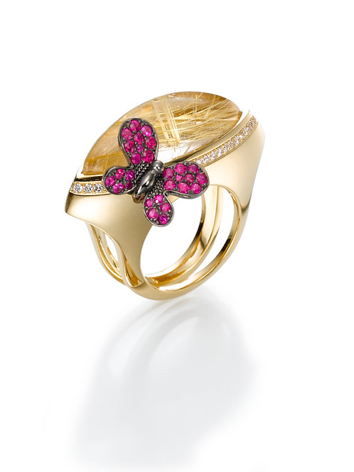 Ring  LP1482 Papillon ,  Diamonds Ruby and Rutile Quartz