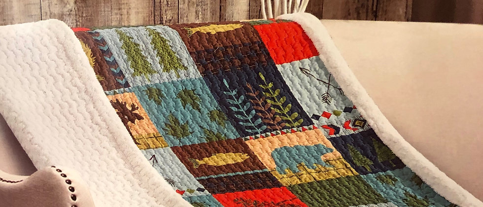 Lake Lodge Quilted Sherpa Throw