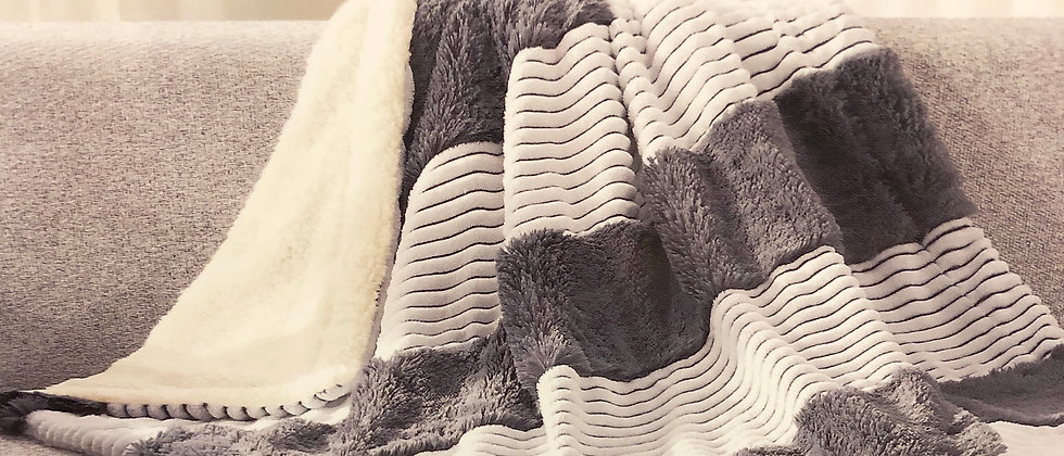 Charcoal Stripe Faux Fur Throw