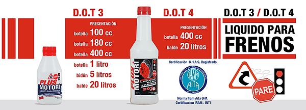 Lubricantes aceites y aditivos Plus motori Liquido de frenos