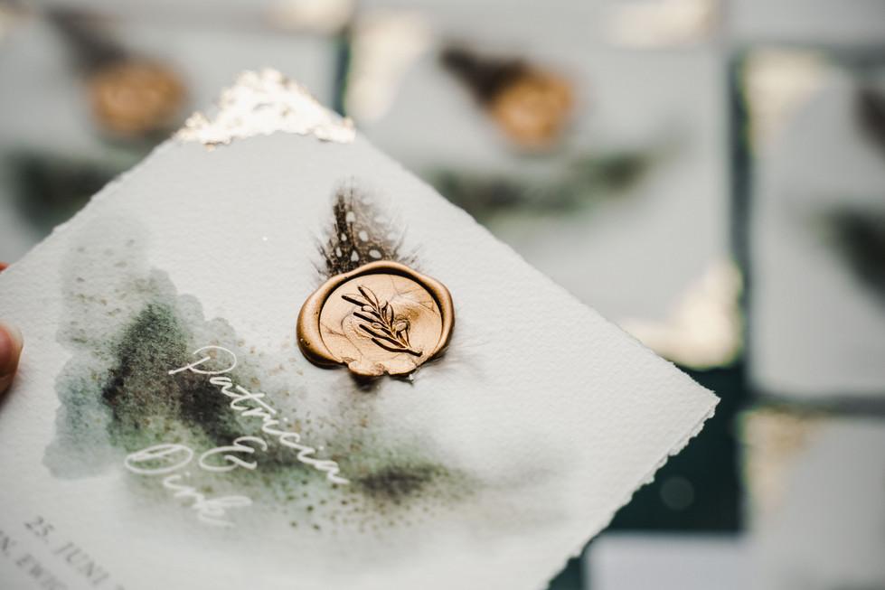 Hochzeitseinladung mit Siegel