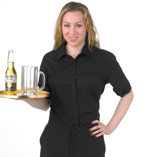 her form fitting short sleeve dress shirt BLACK