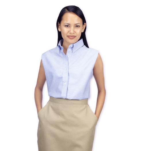 her sleeveless oxford shirt LIGHT BLUE