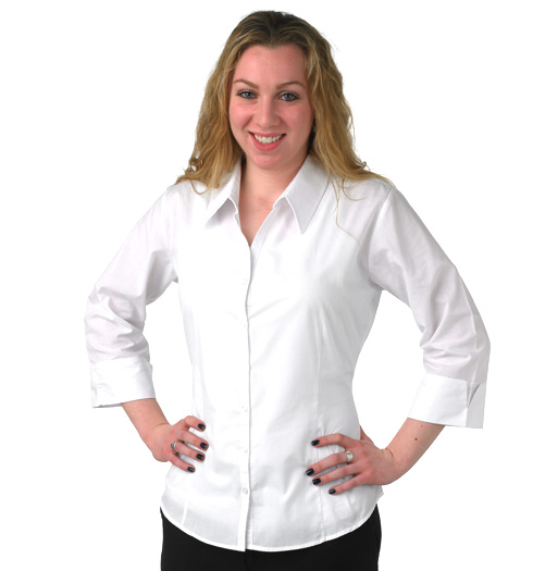 her 3-4 sleeve fitted vneck dress shirt WHITE