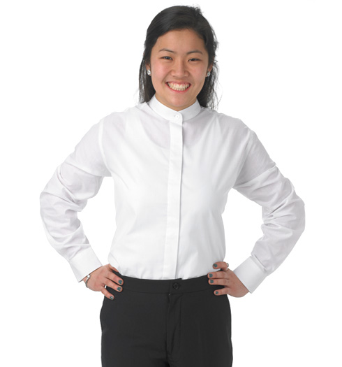 her long sleeve banded WHITE