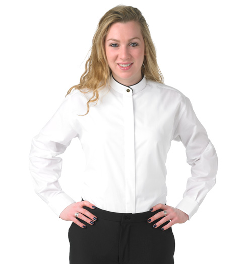 her long sleeve black piping on collar banded WHITE