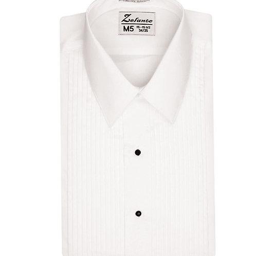 Boys Laydown Collar Pleated Tuxedo Shirt