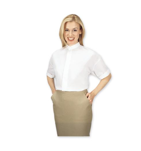 her short sleeve banded WHITE