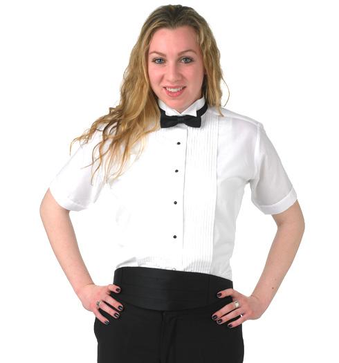 her short sleeve wing tip 1-4 pleats