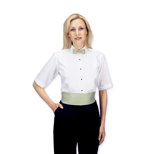 her short sleeve lay down collar 1-4 pleats