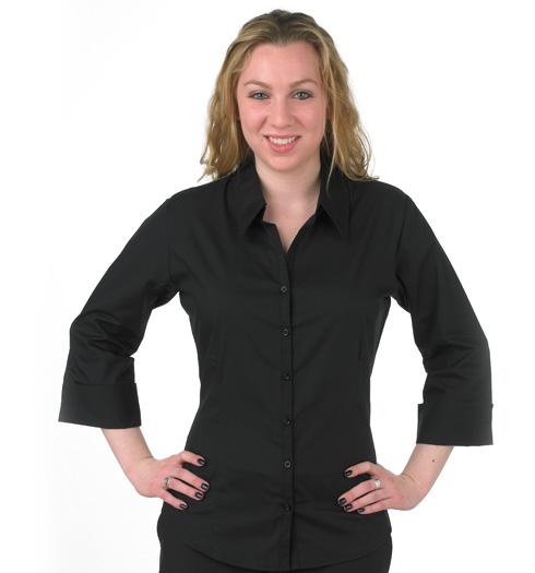 her 3-4 sleeve fitted vneck dress shirt BLACK