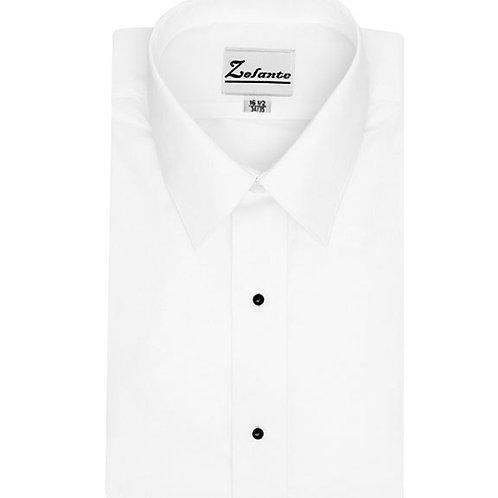 Mens Plain Front Dress Shirt with Laydown Collar