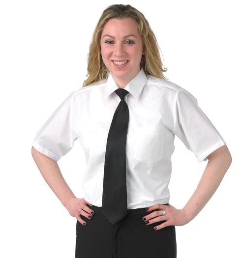 her short sleeve dress shirt WHITE