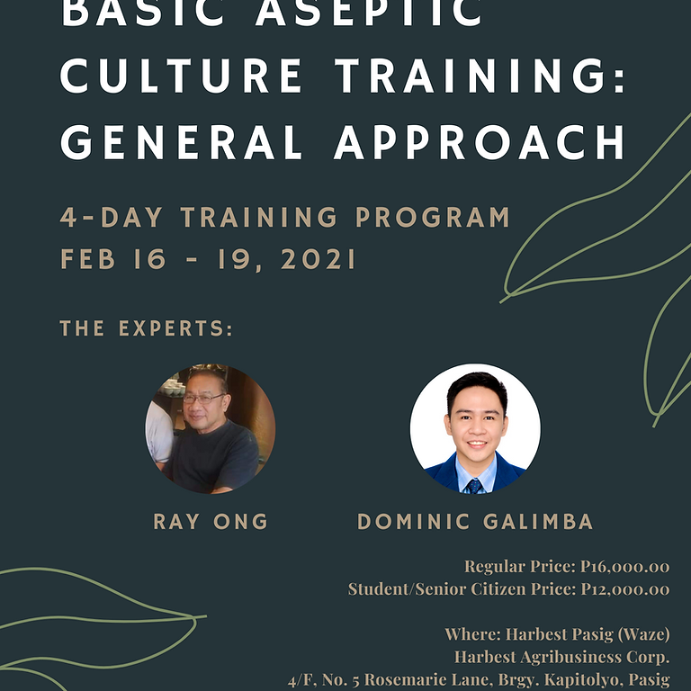 Basic Aseptic Culture Training: General Approach (4-Day Training Program)