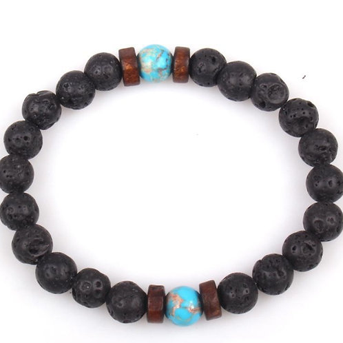 Volcanic Lava Stone Beads essential oil Unisex Men's Wooden Bead bracelet