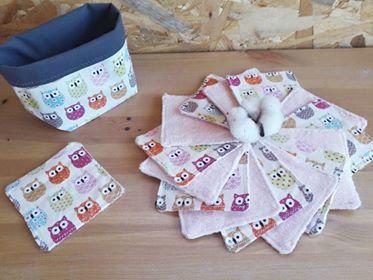 Lingettes lavables par 15 + panier assorti 5 colories au choix
