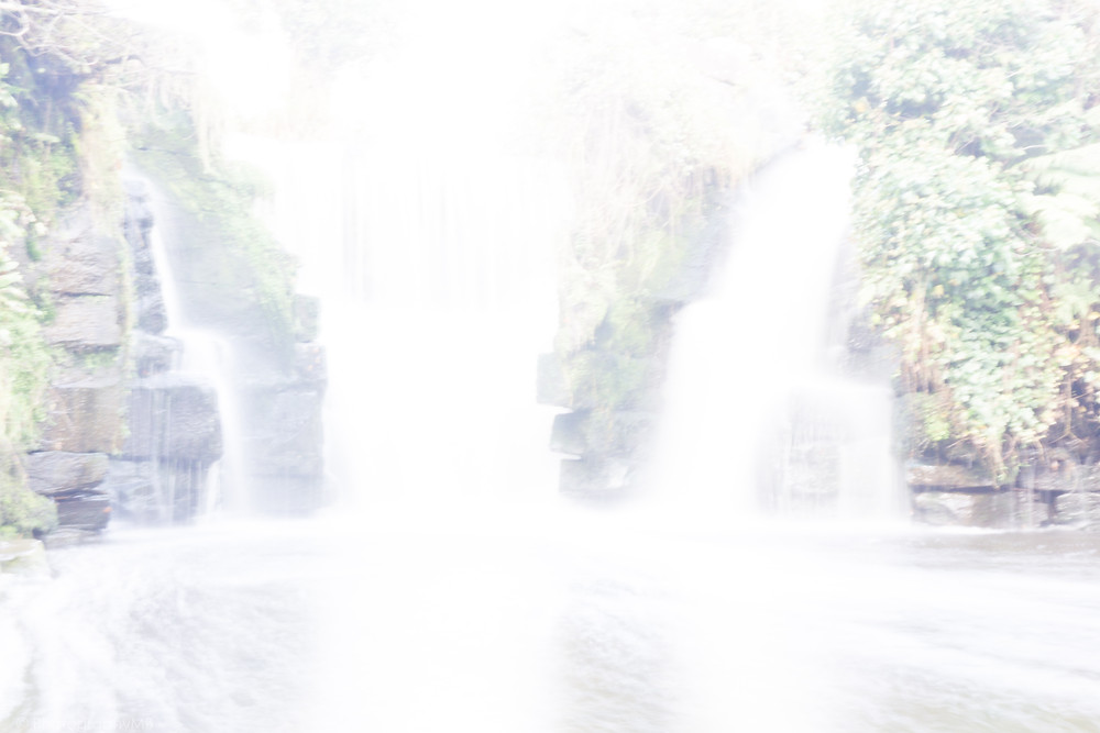 Over exposed picture of Penllergare Woods waterfall