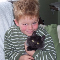 "my youngest son Fabian with ""Midnight"""