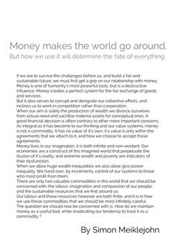 Simon Meiklejohn 'Money makes the world go around.'