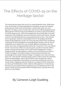 Cameron-Leigh Dudding 'The Effects of COVID-19 on the Heritage Sector'