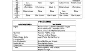 HORARIO PREPARATORIA 2021-2022