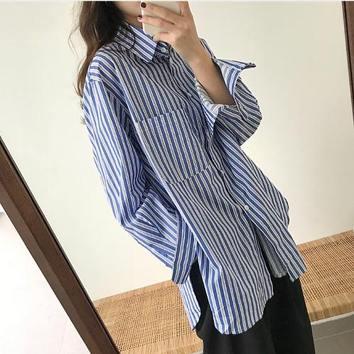 ルーズシルエットストライプシャツ yin2019031602
