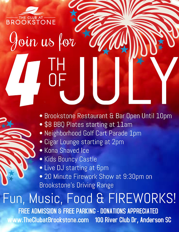 The Club at Brookstone 4th of July Flyer