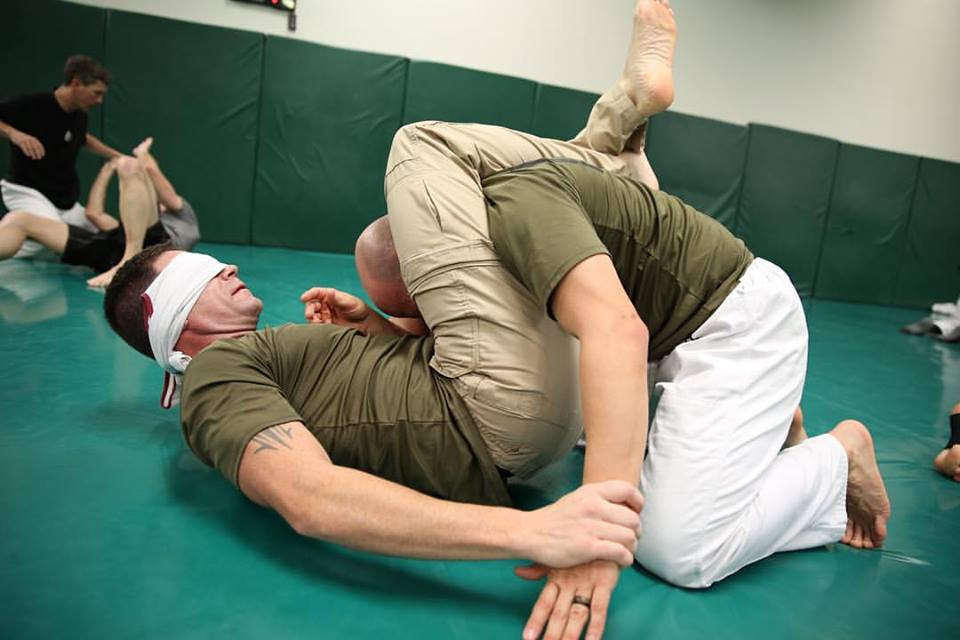 blindfold training at Gracie Academy
