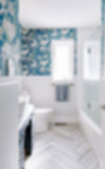 Bathroom design, interior design, muskoka designer, interior renovation, blue bathroom