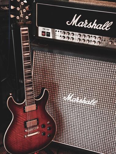 Marshall amp with guitar