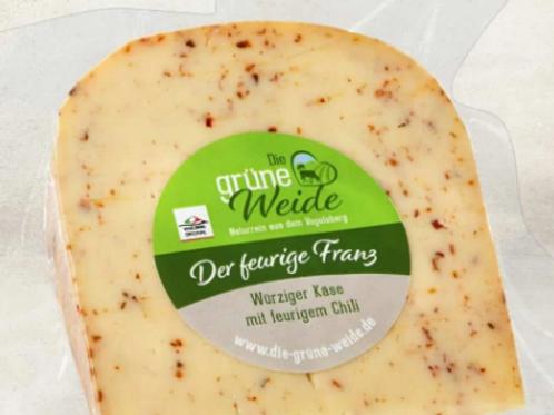 """""""Der feurige Franz"""" Käse mit dem Schuss Feuer (Chili), ca. 150-160g Stück"""