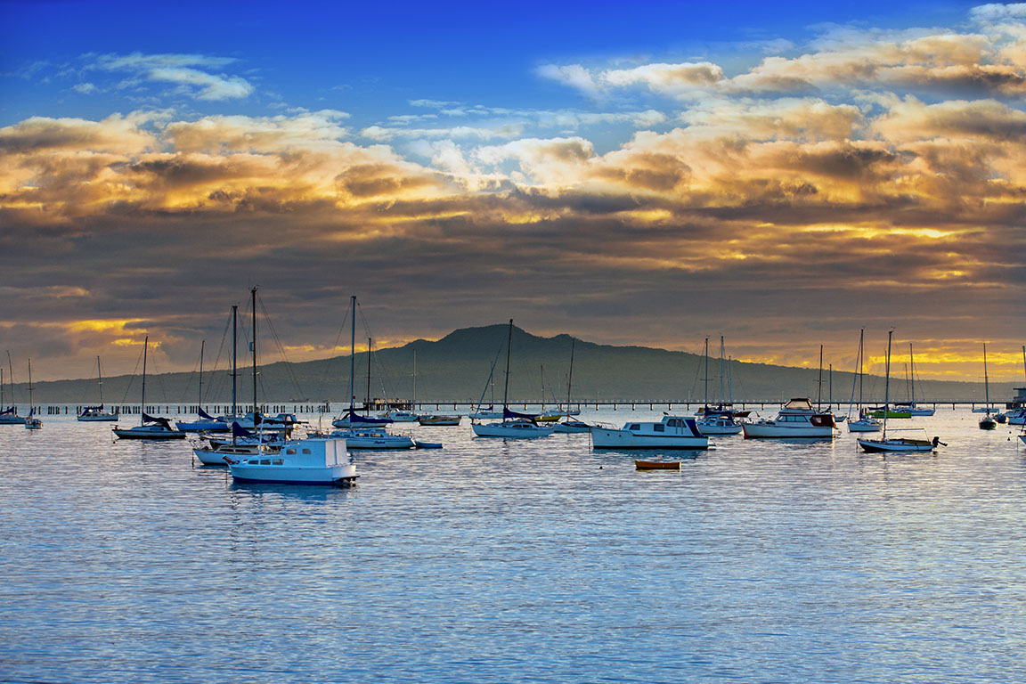 Boats At Okahu Bay And Rangitoto_64550.jpg