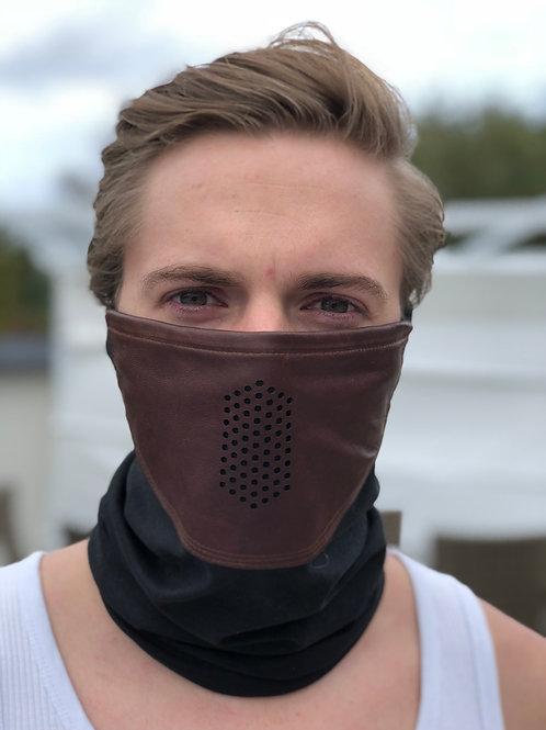 Mörkbrun Lädermask