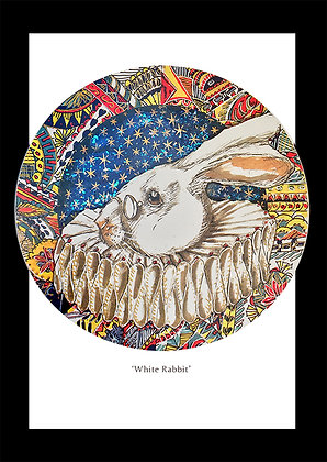 'White Rabbit' A5 hand finished card