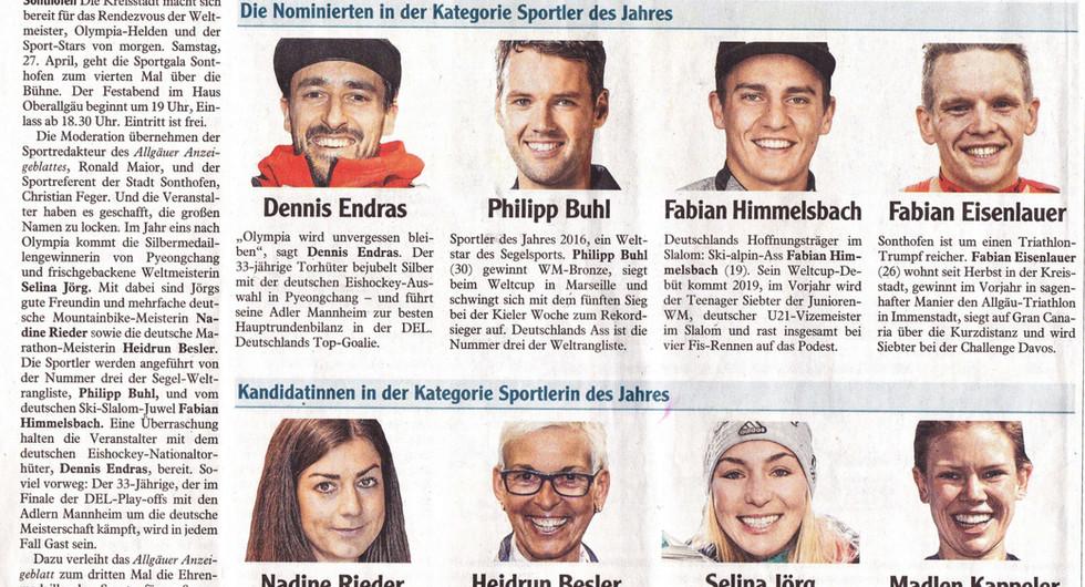 Sportlerwahl Sonthofen 2018