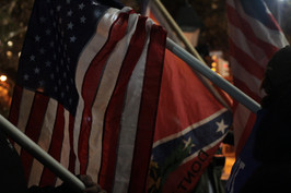 American and Confederate Flags at a Protest in Washington Square Park, 2017