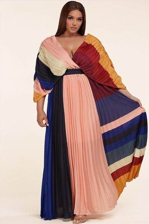 Color Pleats Maxi Dress