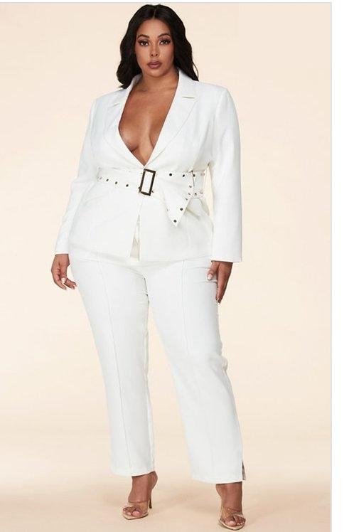 Whit Pants Suit