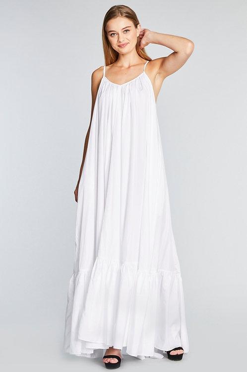White Maxi Dress (free size)